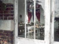 Wedding breakfast through the orangery window